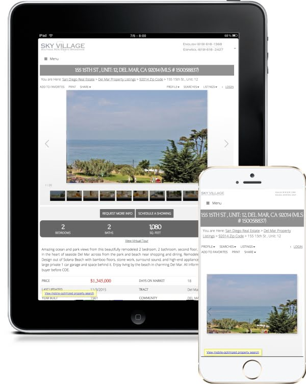 mobile device real estate search san diego california