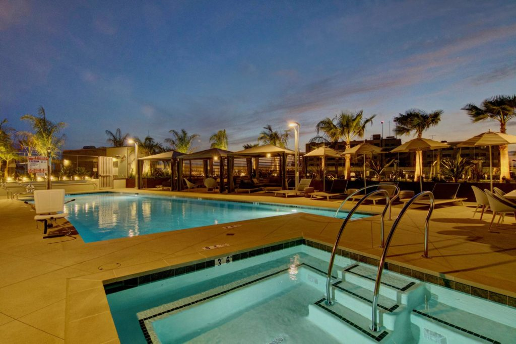 Pacific Gate SD Pool Deck at Sunset
